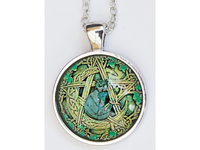 Celtic Cat Pentagram Pendant and chain